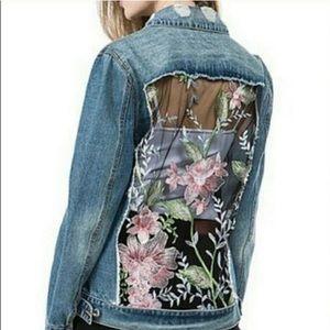 ASHLEY Vintage Charm Denim Jacket w/ Floral Back
